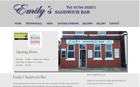 Emily's sandwich bar by Southport Web Design